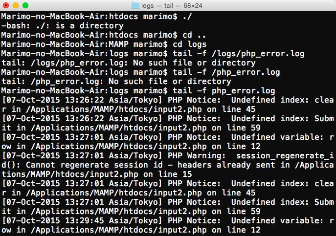 PHP-Macのターミナル上でエラー...