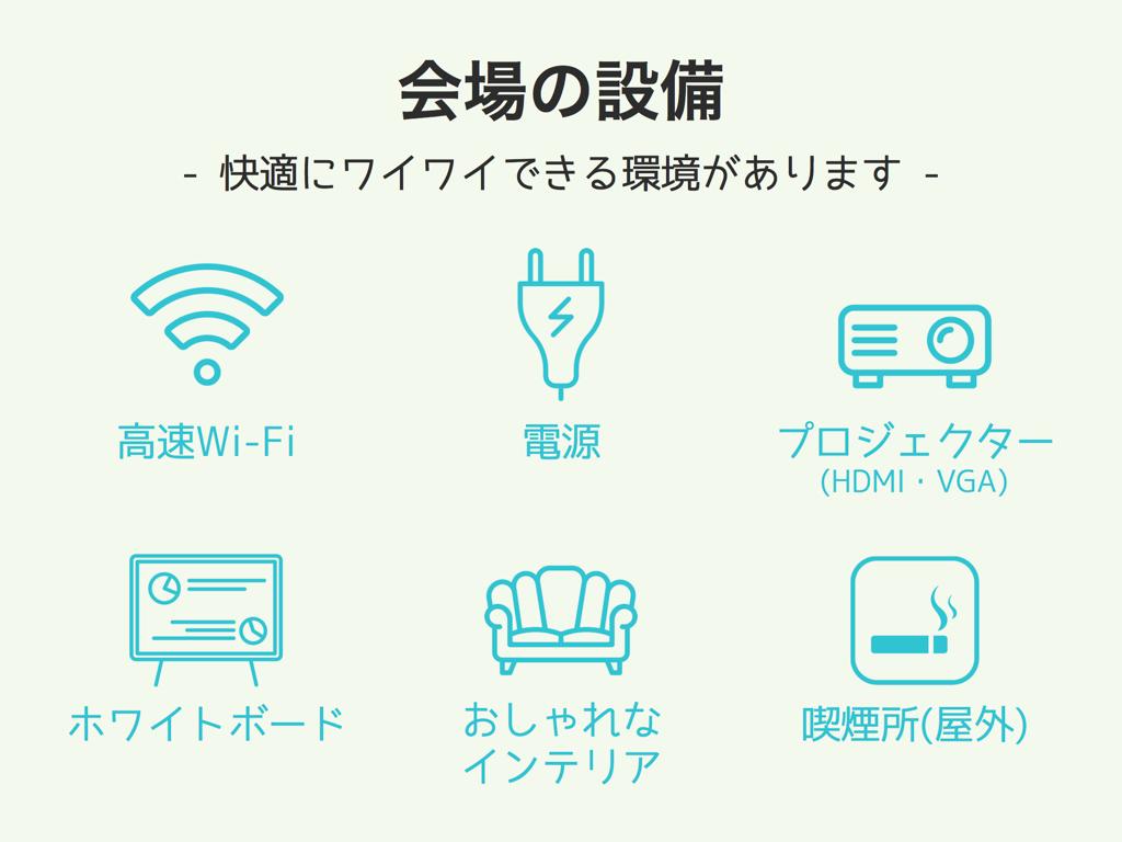 会場設備・快適にワイワイできる環境があります。高速Wi-Fi、電源、プロジェクター(HDMI,VGA)、ホワイトボード、おしゃれなインテリア、喫煙所(屋外)