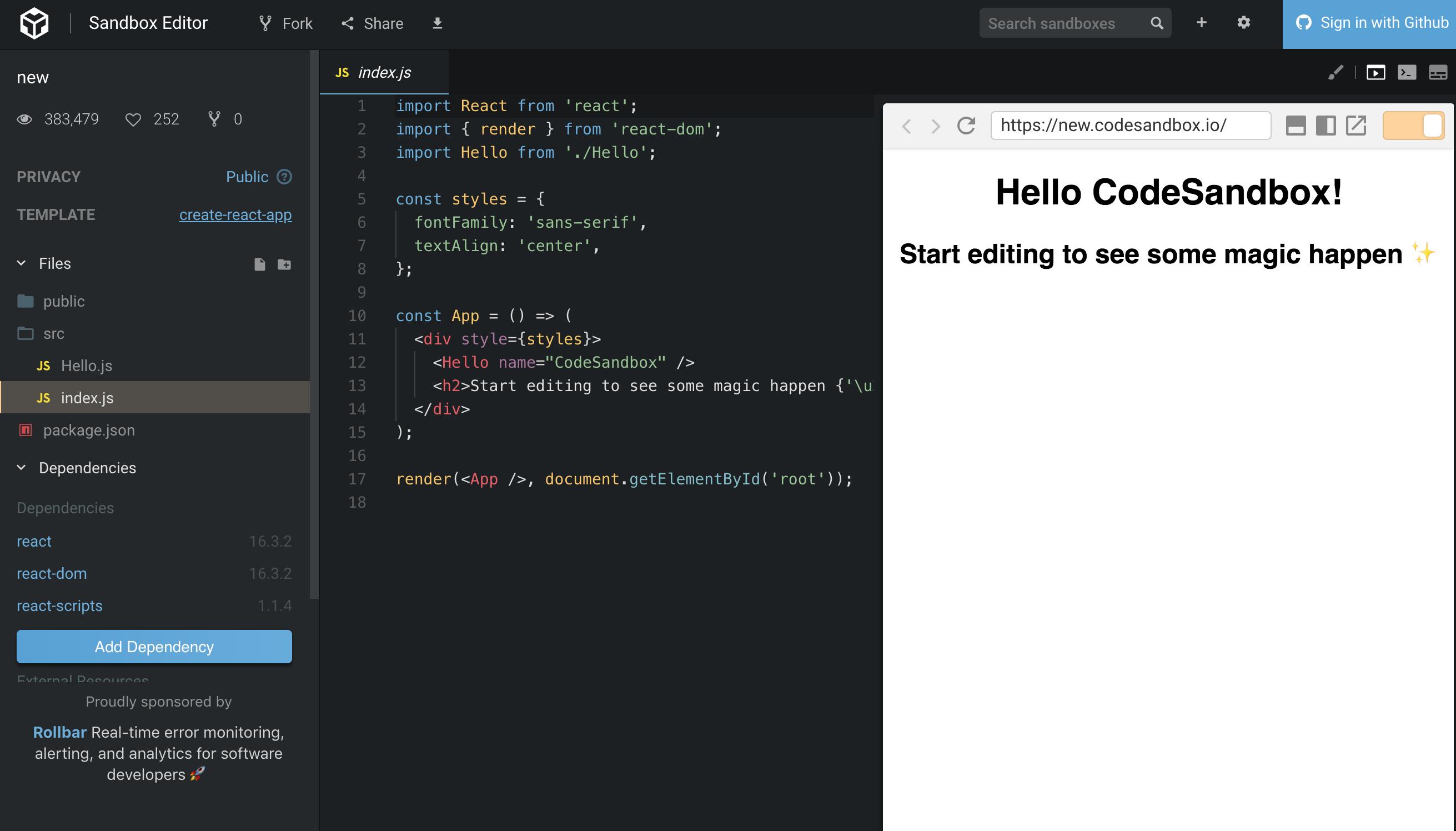 create-react-appとCodeSandboxで手軽にReactアプリの開発準備