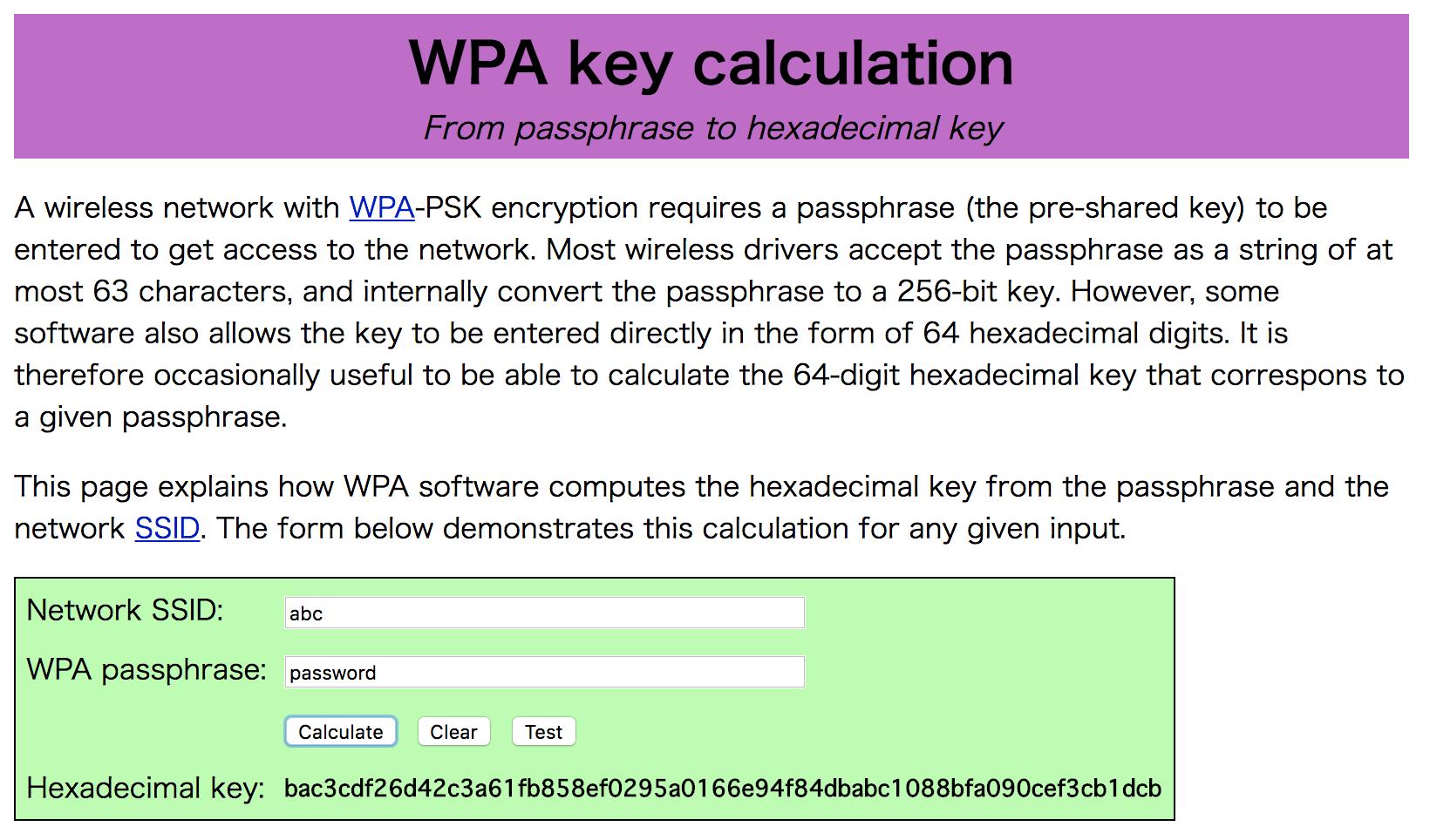 WPA key calculation