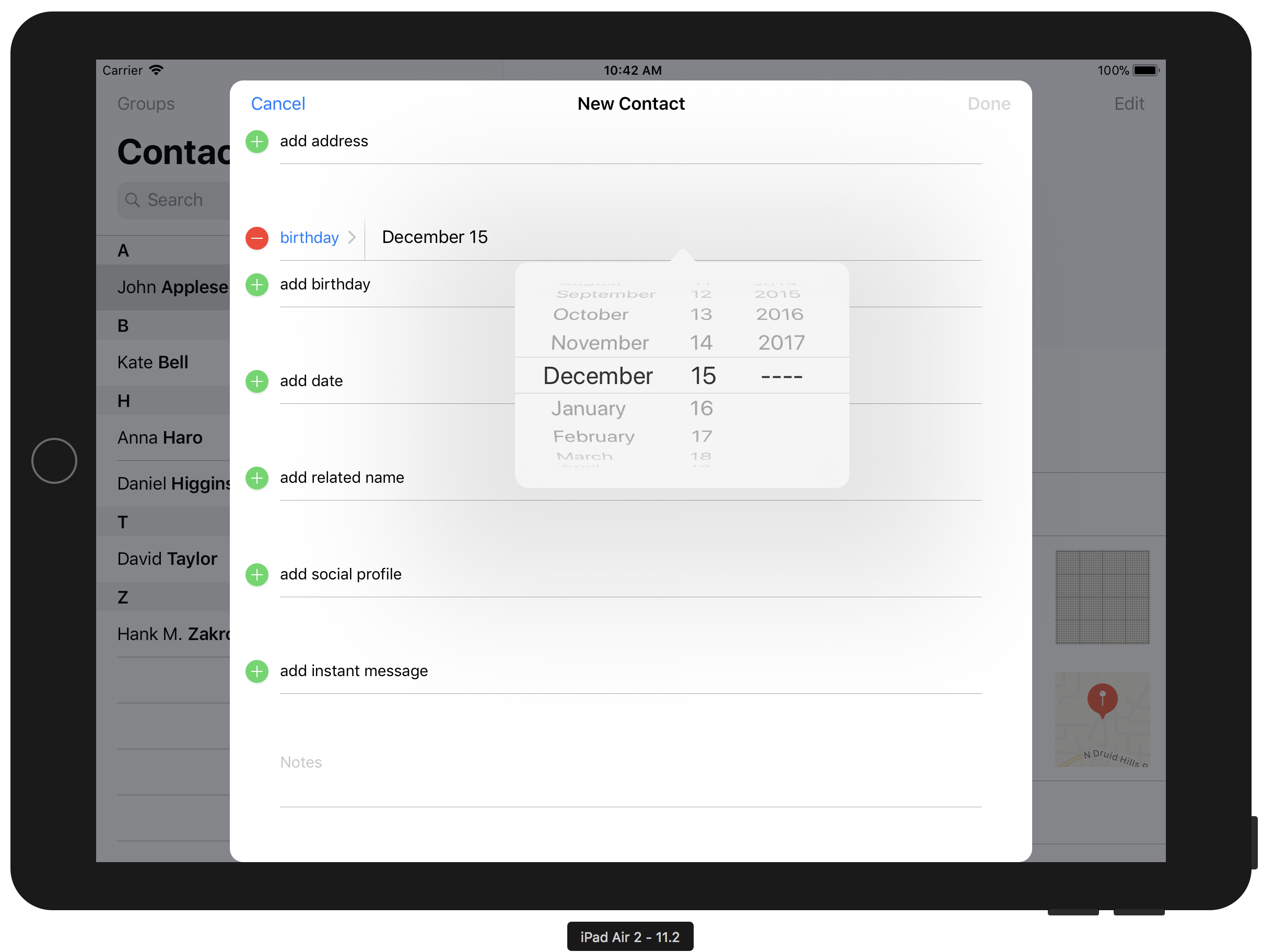 iPad Air 2 Contact Picking Date