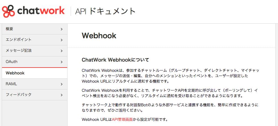 APIドキュメント Webhook