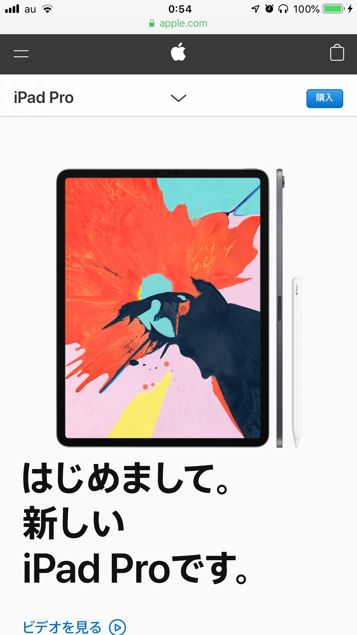 iPad Proのウェブページの縦のスクリーンショット