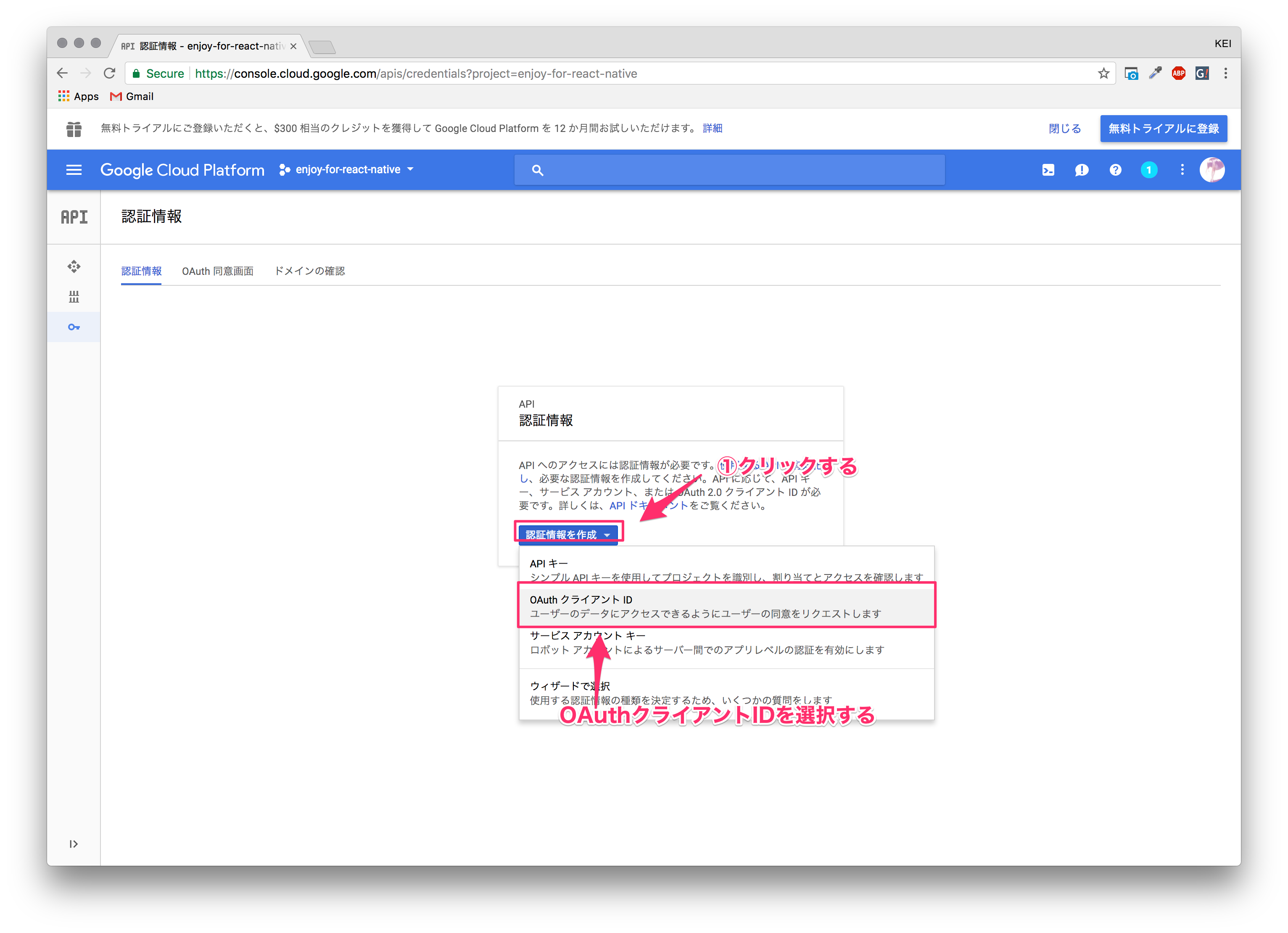 React NativeのインストールからGoogle OAuthを導入して、Google