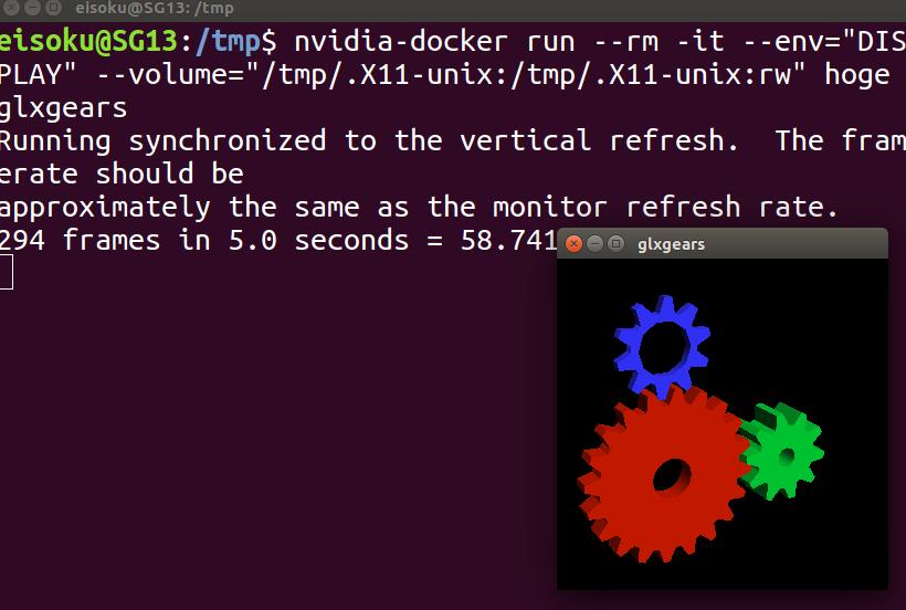 NVIDIAが入っているPCにおいてdocker上でopenGLなプログラムを