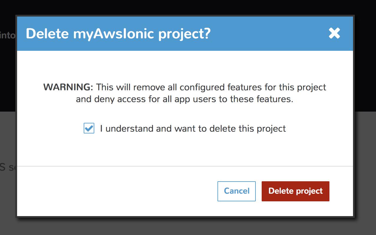 MobileHub project delete confirm dialog