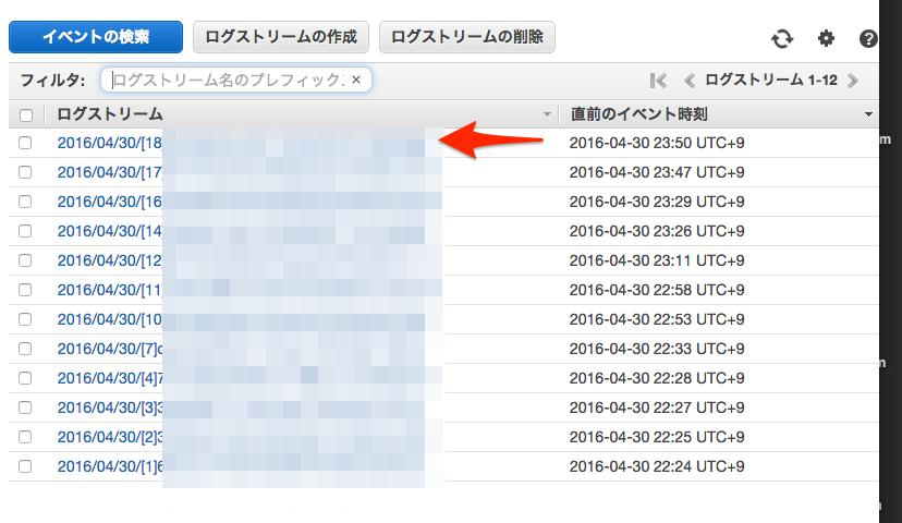 CloudWatchでログの確認