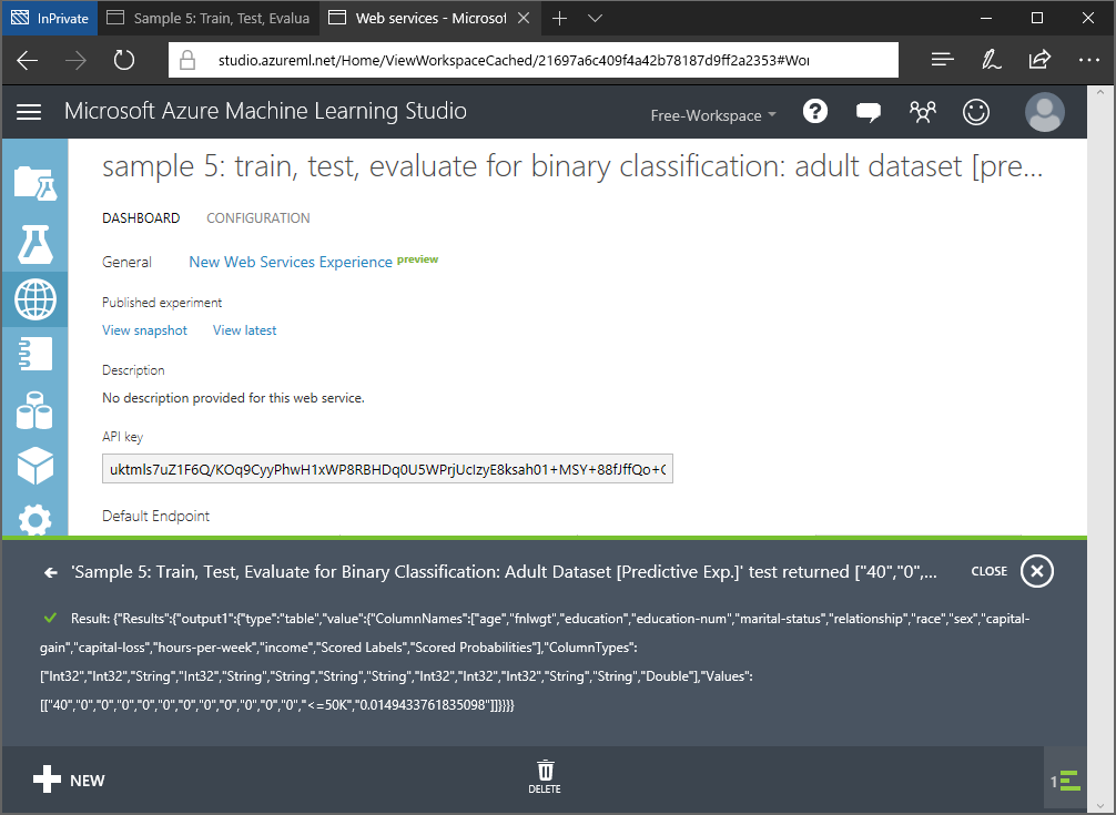 studio.azureml.net test.result.webservice.png