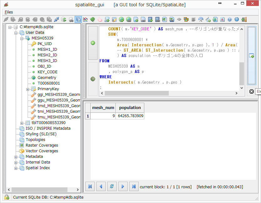 SpatiaLiteを使ってSQLだけで面積按分 - Qiita