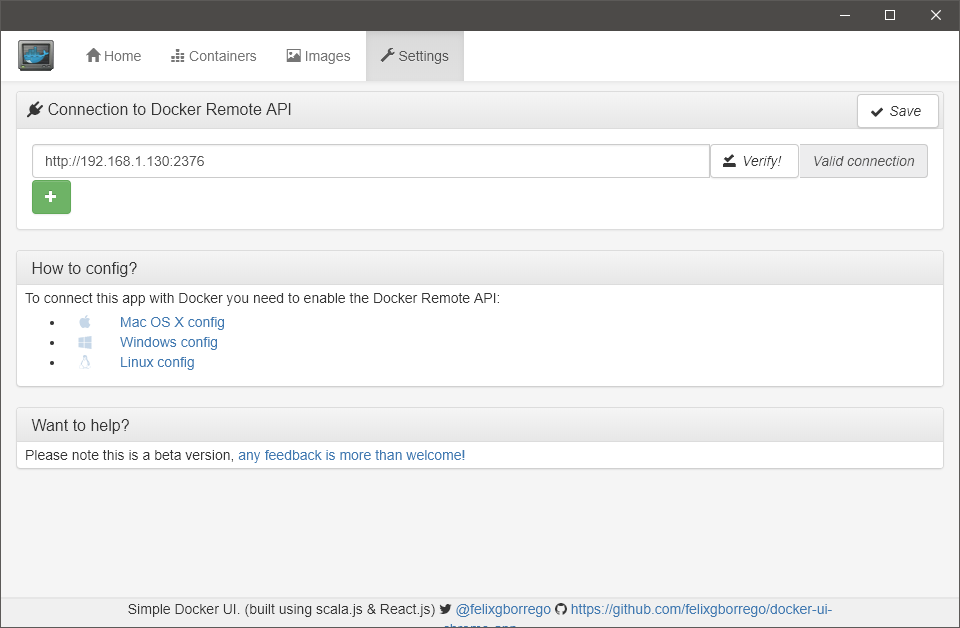 Simple Docker UI