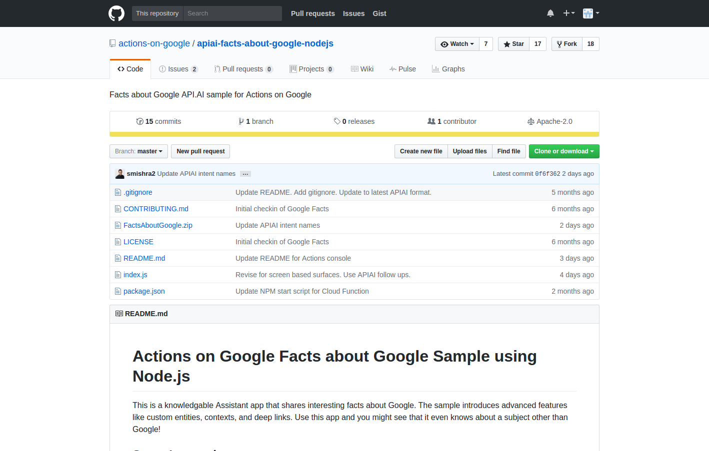 actions on google apiai facts about google nodejs  Facts about Google API.AI sample for Actions on Google.png