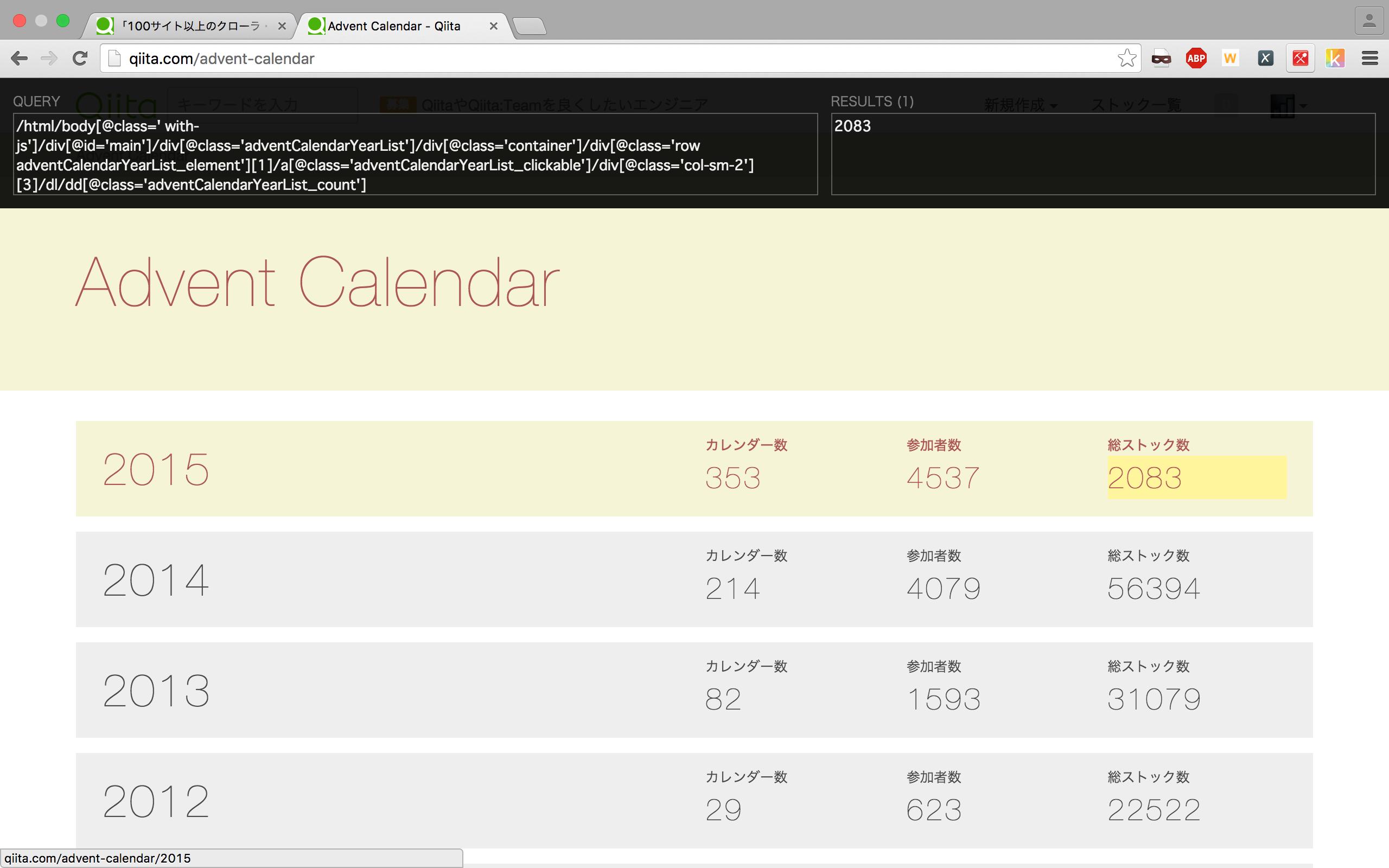 XPath Helperを使い2015年の総ストック数を取得するXPathを取得する
