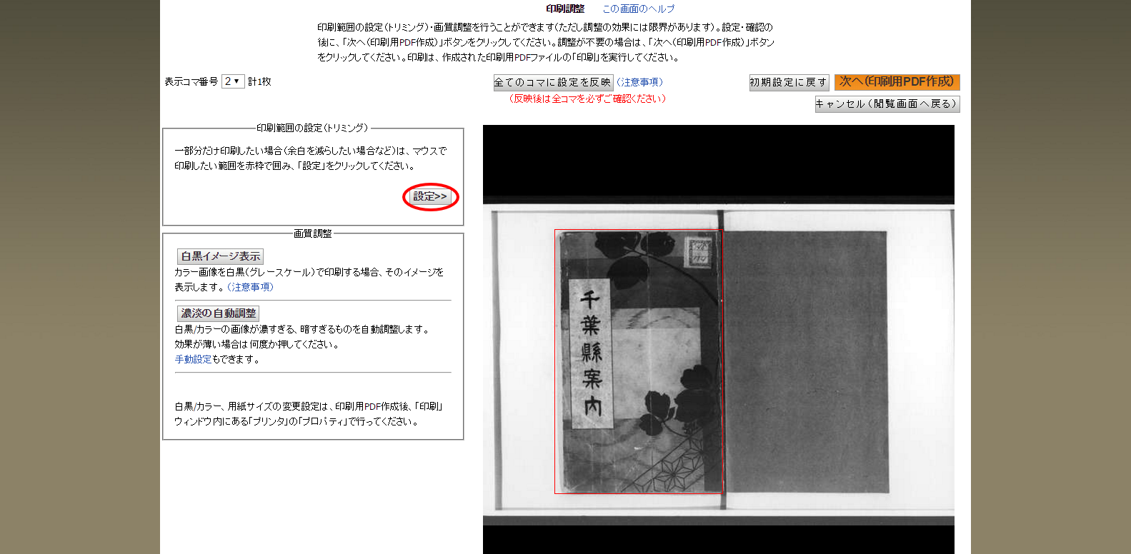 国立国会図書館デジタルコレクション   印刷調整画面2_設定.png