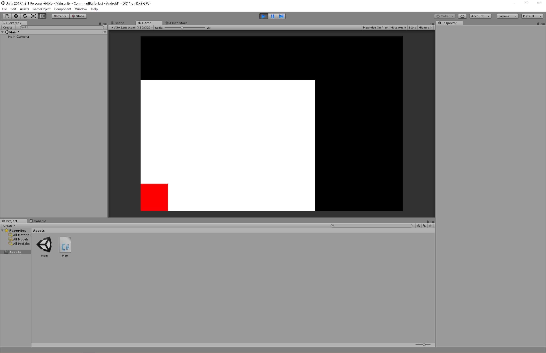 画面左下に真っ赤な正方形を描画する