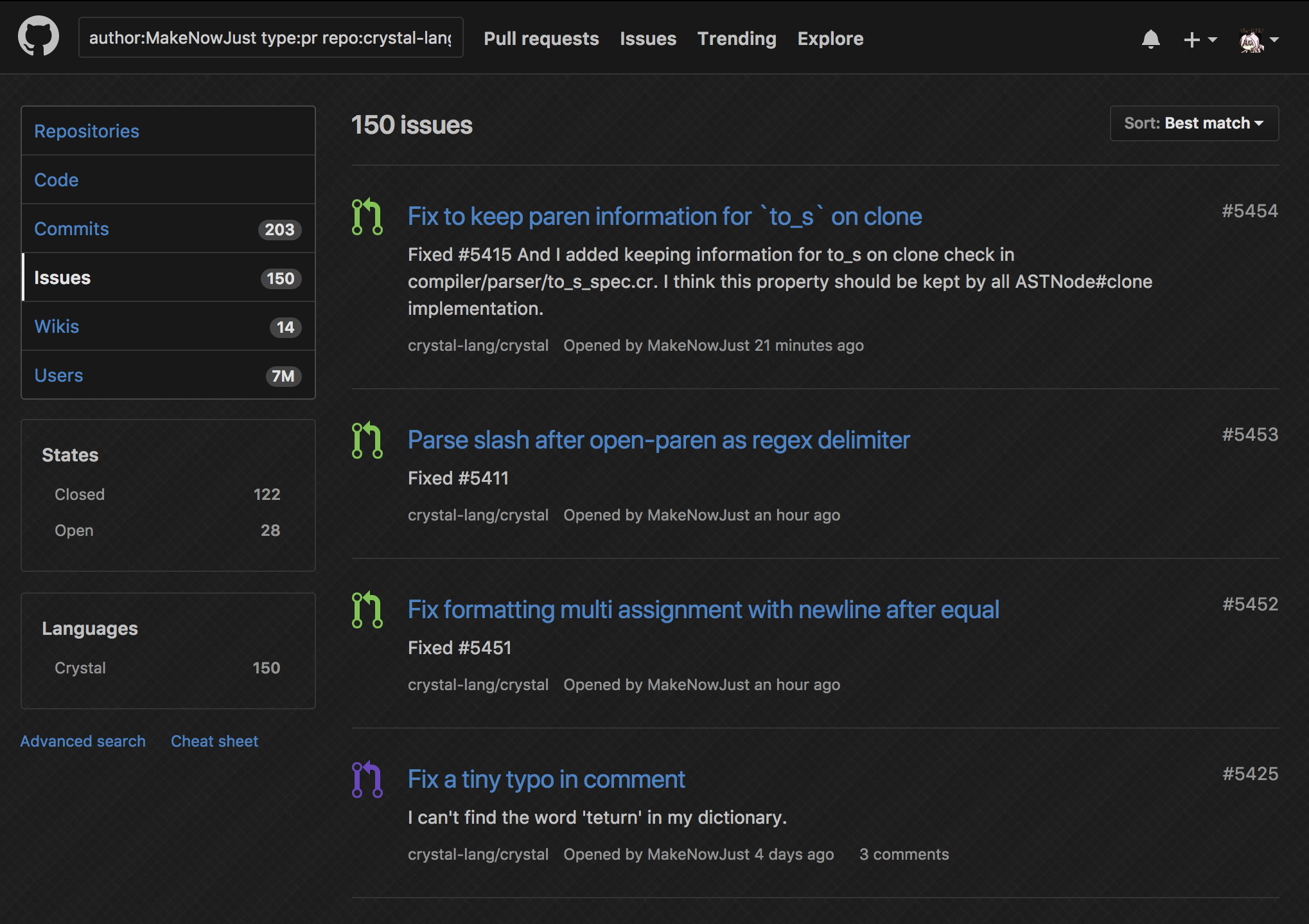 GitHubの検索結果のスクショ