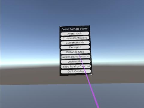 OculusのSampleFramework全シーンをQuest実機で動かしてみた