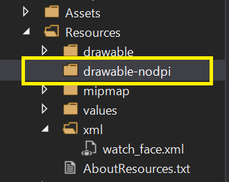 drawable-nodpiフォルダーを作成