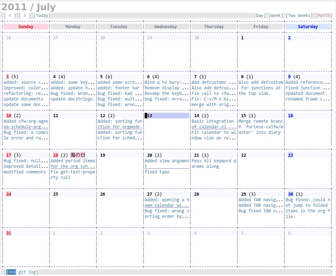 calendar for gitlog