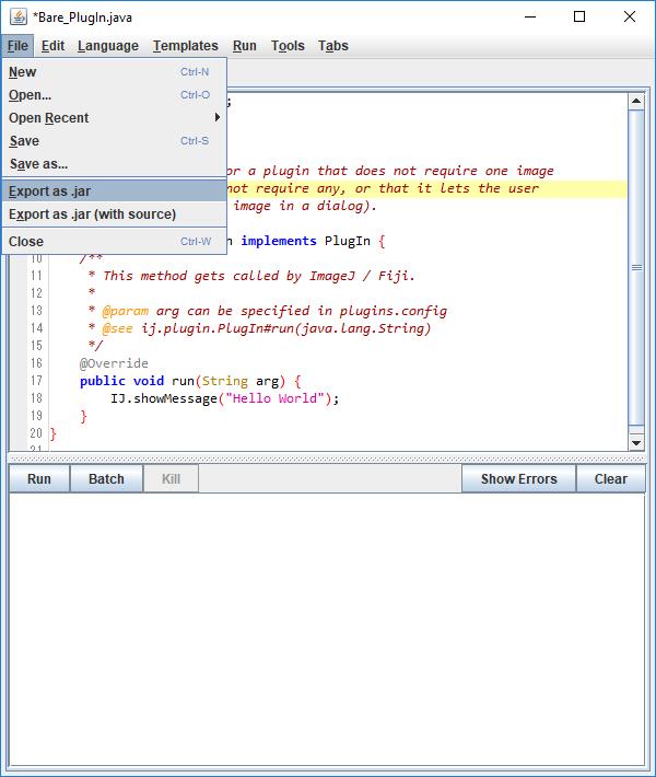 Hello World for ImageJ Java Plugin - Qiita