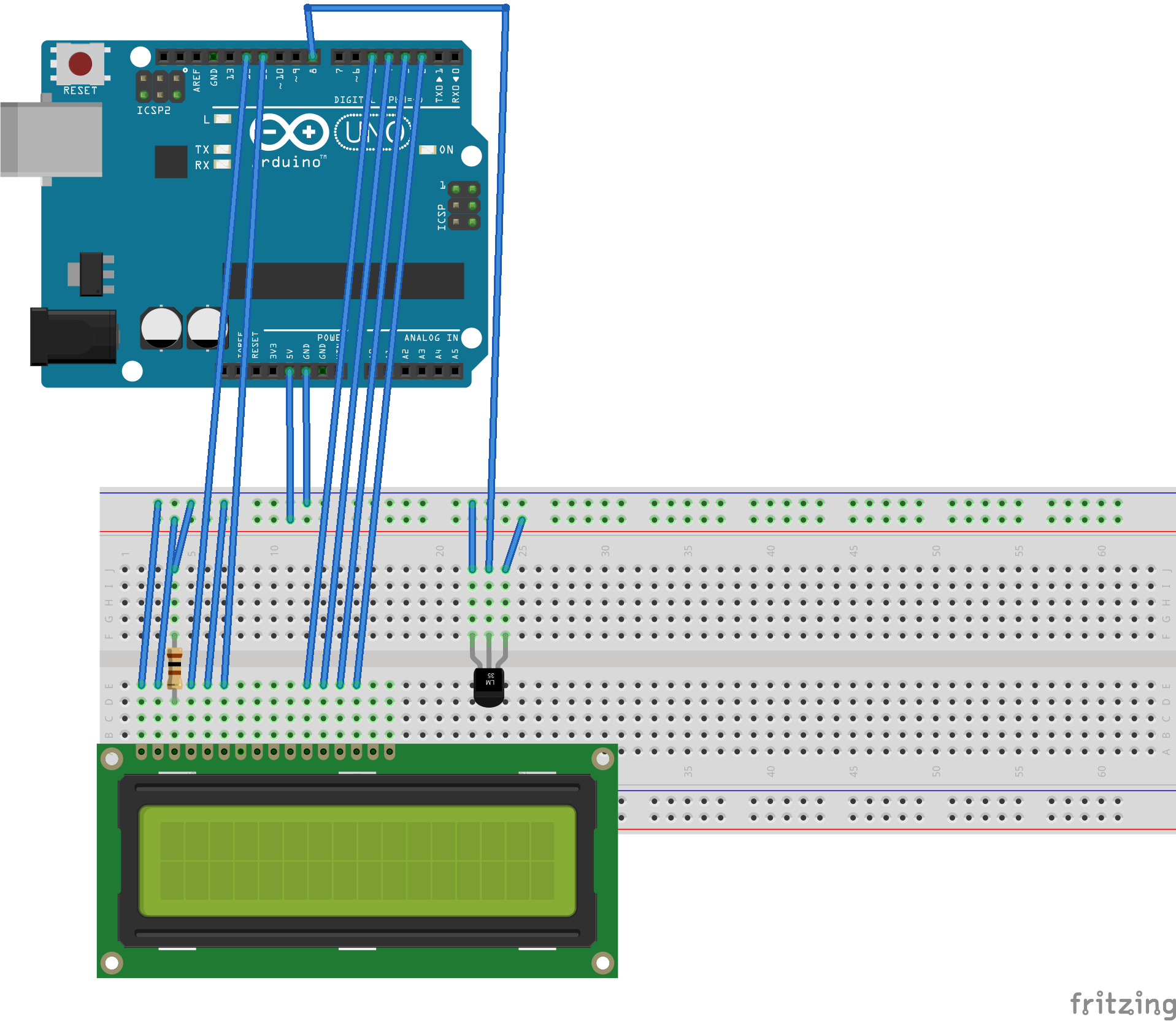LCDディスプレイに温度湿度を表示させる_ブレッドボード.png