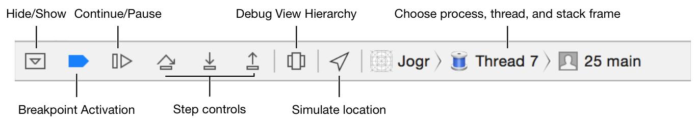 Pause ボタンは、デバッグバーの左から3番目のボタンです