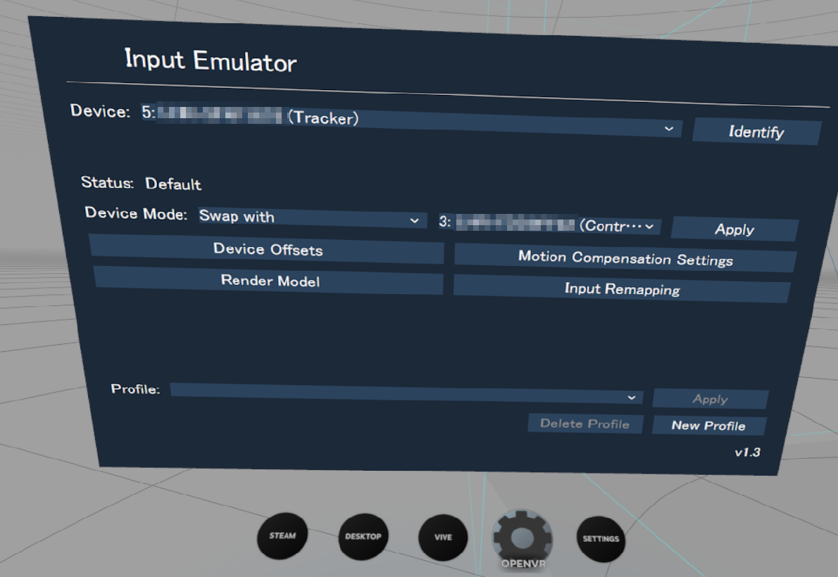 OpenVR-InputEmulatorでDevice Modeを変更しようとするとUnknown