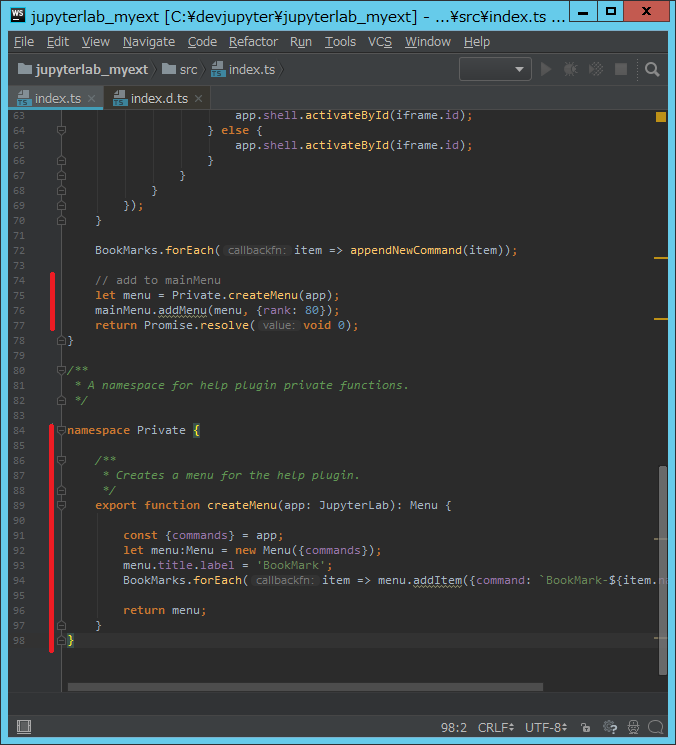 Creating a simple JupyterLab plugin having BookMark menu - Qiita