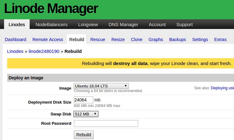 Linode ManagerでOSをインストールする画面