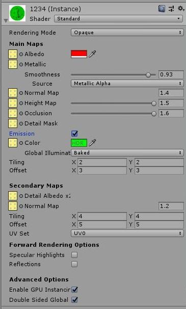 Unity:Material(Standard Shader)のスクリプト設定を全網羅