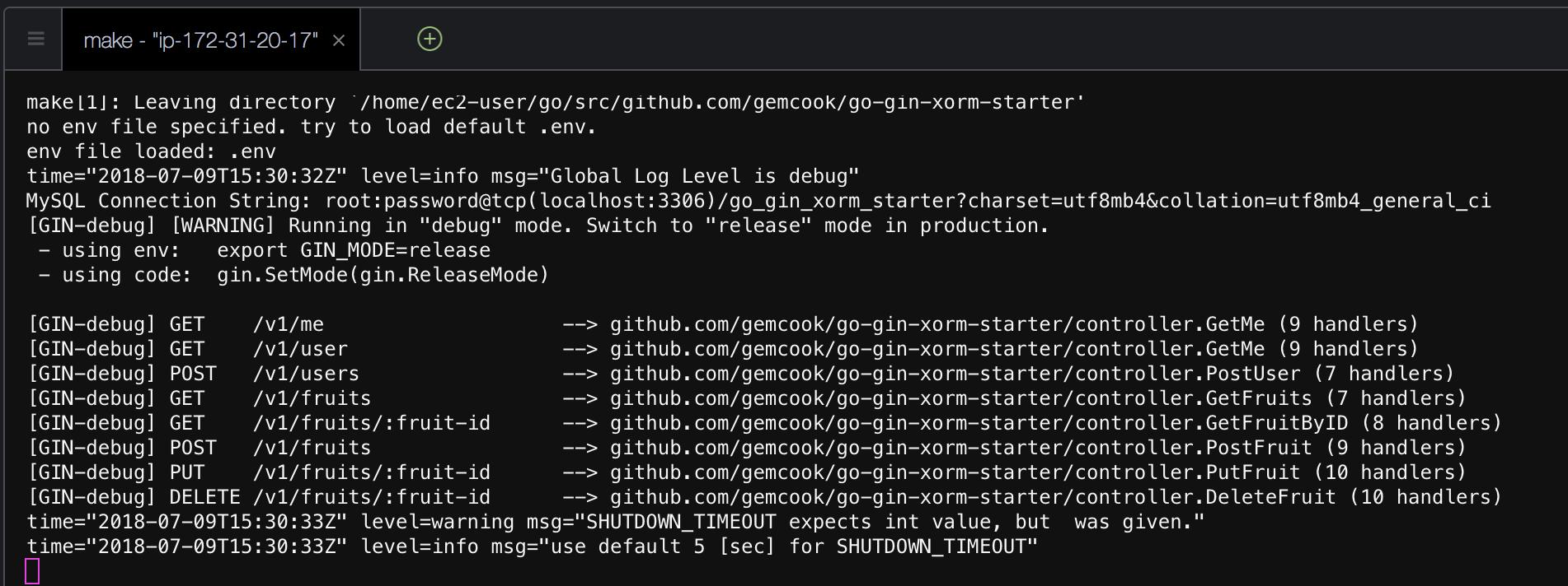 APIサーバー起動ログ