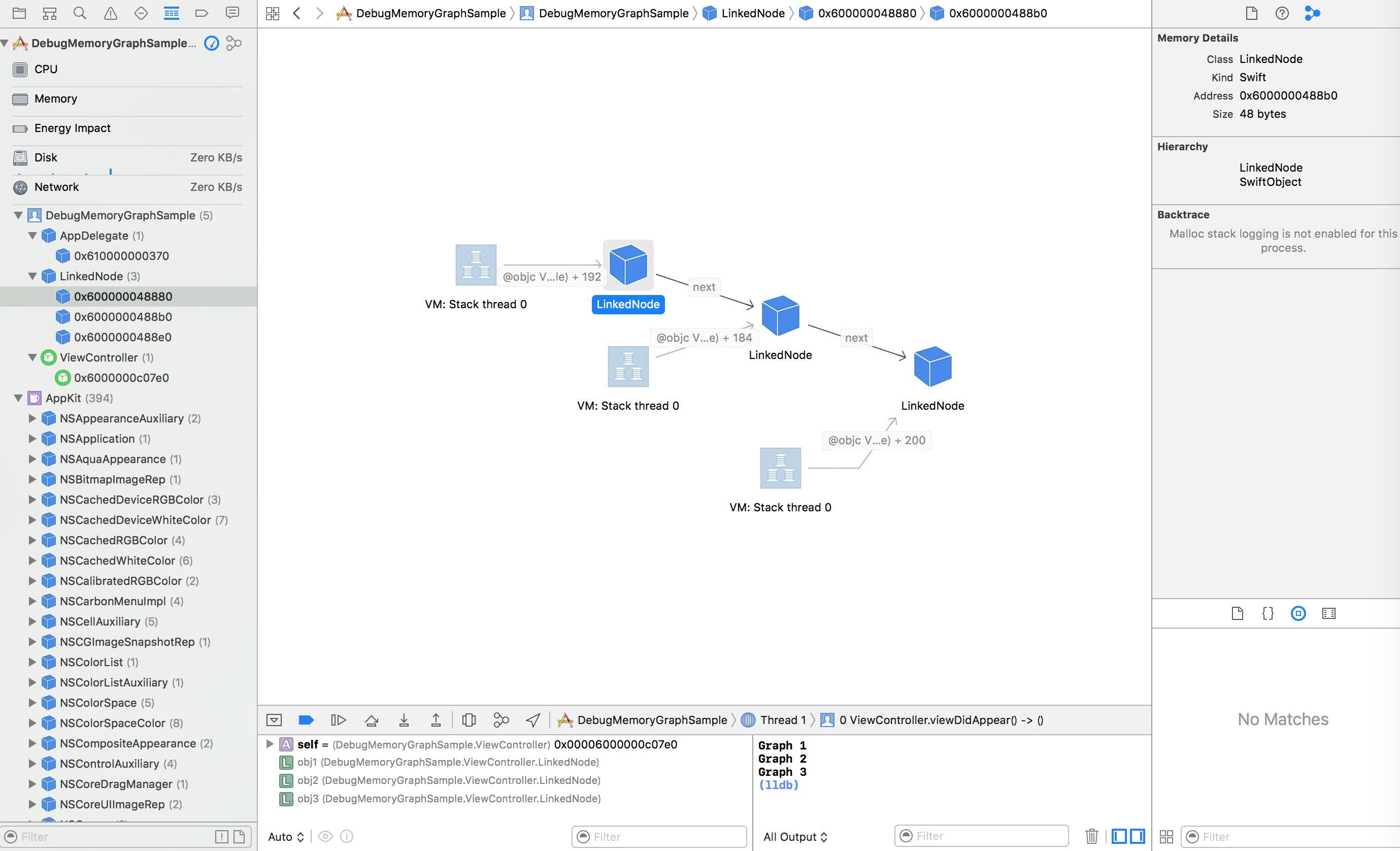 xcode8 の debug memory graph の使い方 qiita