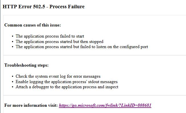 asp net gt aspcore2 gt http error 502 5 process failure qiita