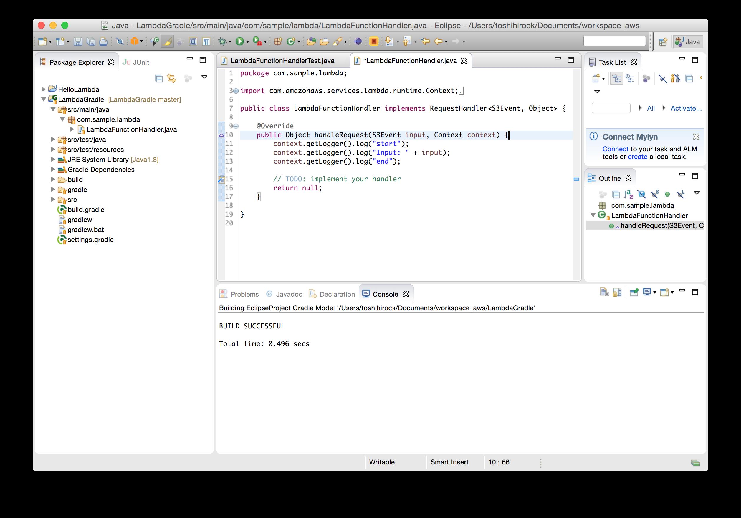 AWS LambdaのプロジェクトをGradleでビルド、テスト(JUnit4)する