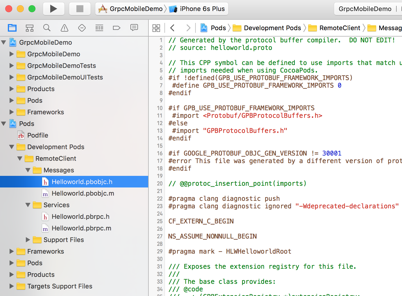 Xcode(Swift) + CocoaPodsでgRPCのClientを生成してServiceを