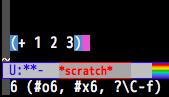 scratchバッファでLispを実行する様子