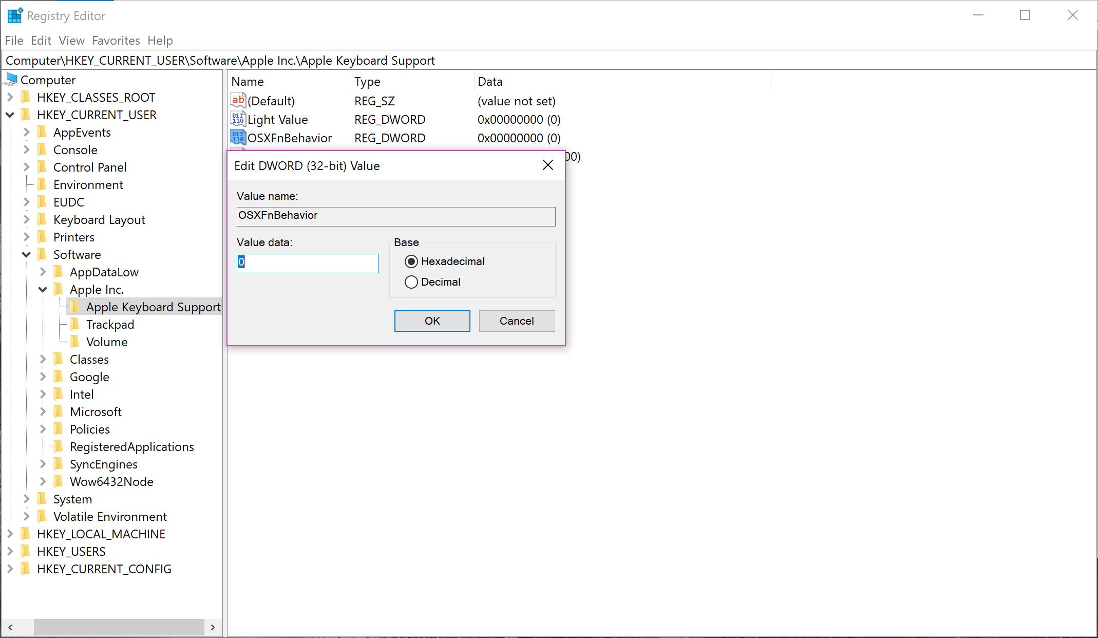 Registry - change 1 to 0 in OSXFnBehavior for Stdrd Fanc Key.PNG
