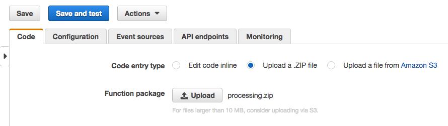 zipファイルのアプロード
