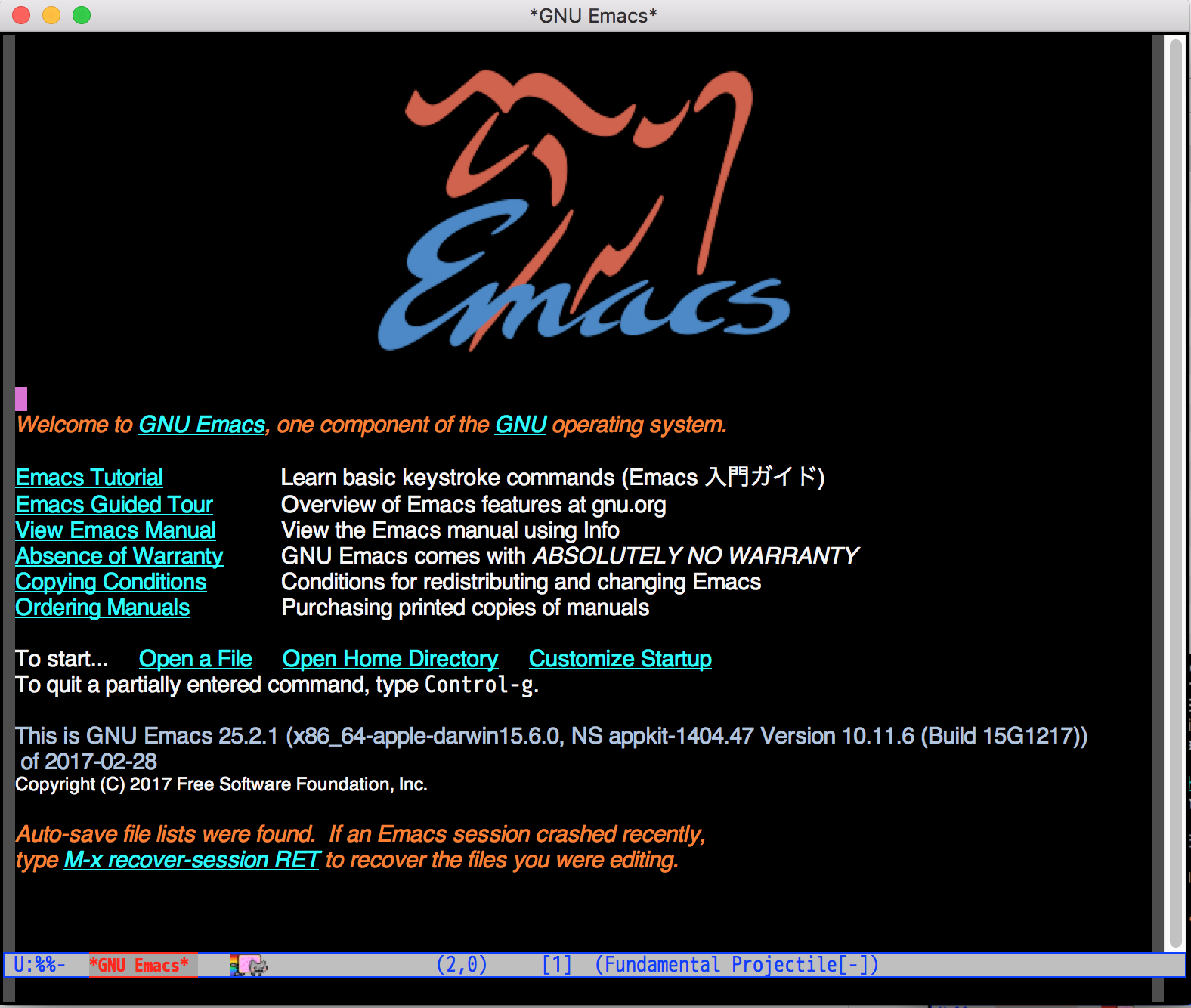 Emacs 25.2rc2 起動画面