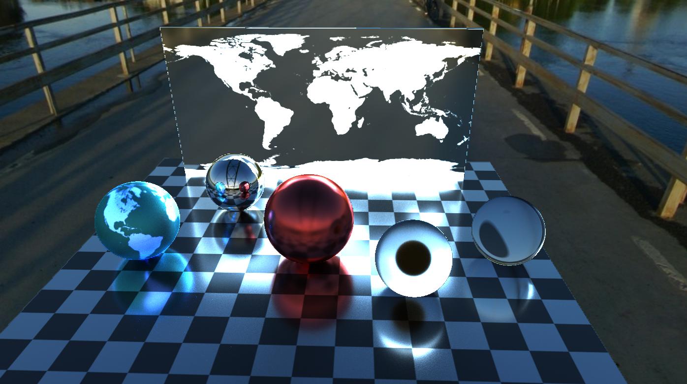 背面の世界地図を光源にした例