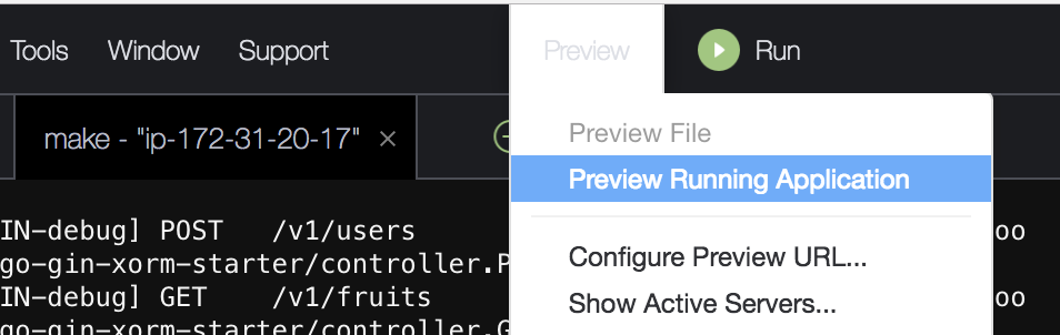 Preview Running Application