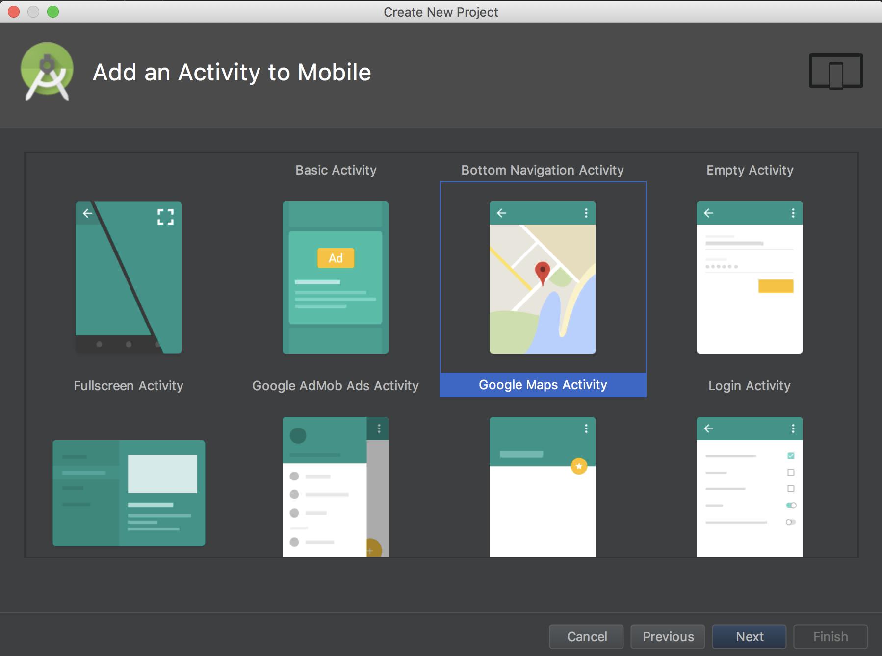 Google Maps Activity を選択