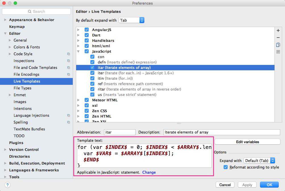 無駄なコード入力を今すぐ辞められるwebstormのlive templatesが便利