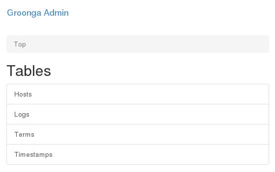 データロード後のGroonga Adminのトップページ