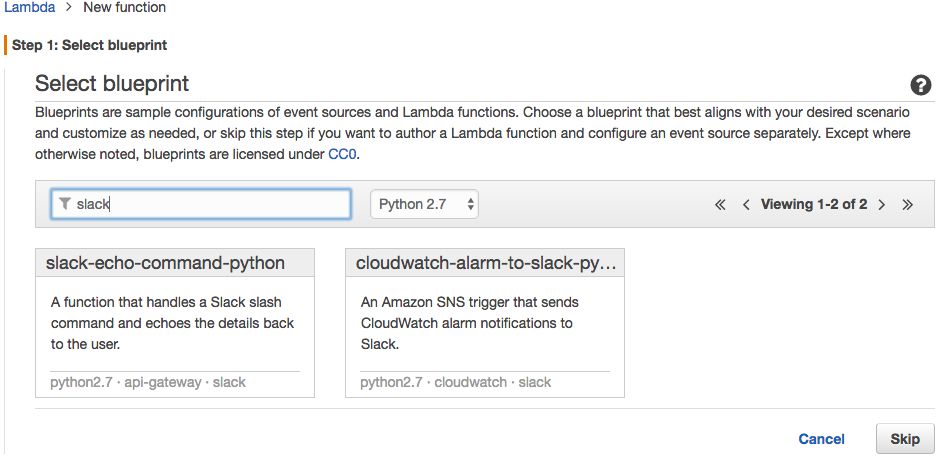 Slackslash commandaws lambda step1g malvernweather Image collections