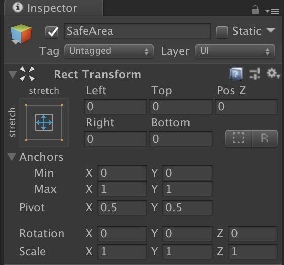 Game object RectTransform