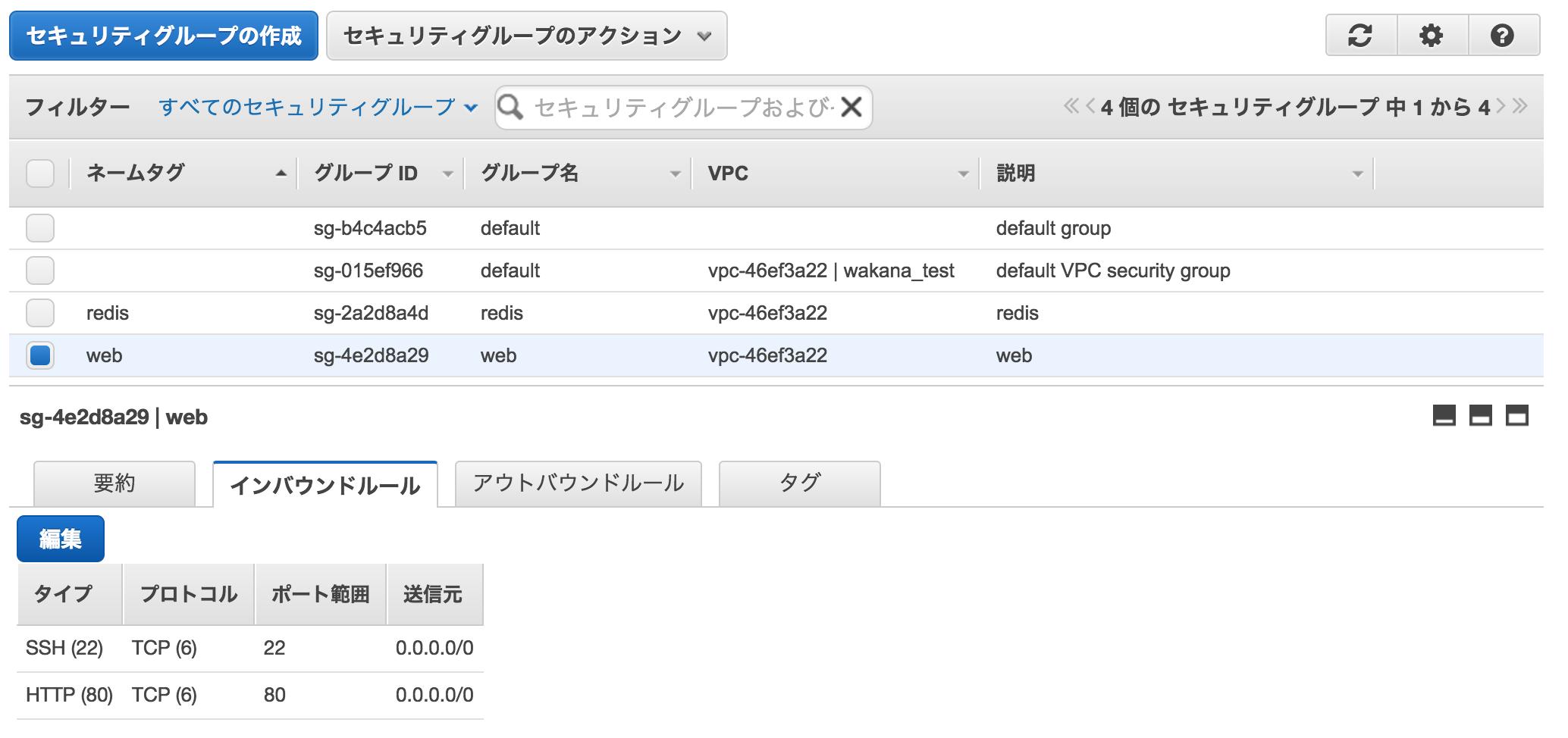 web用セキュリティグループインバウンド設定