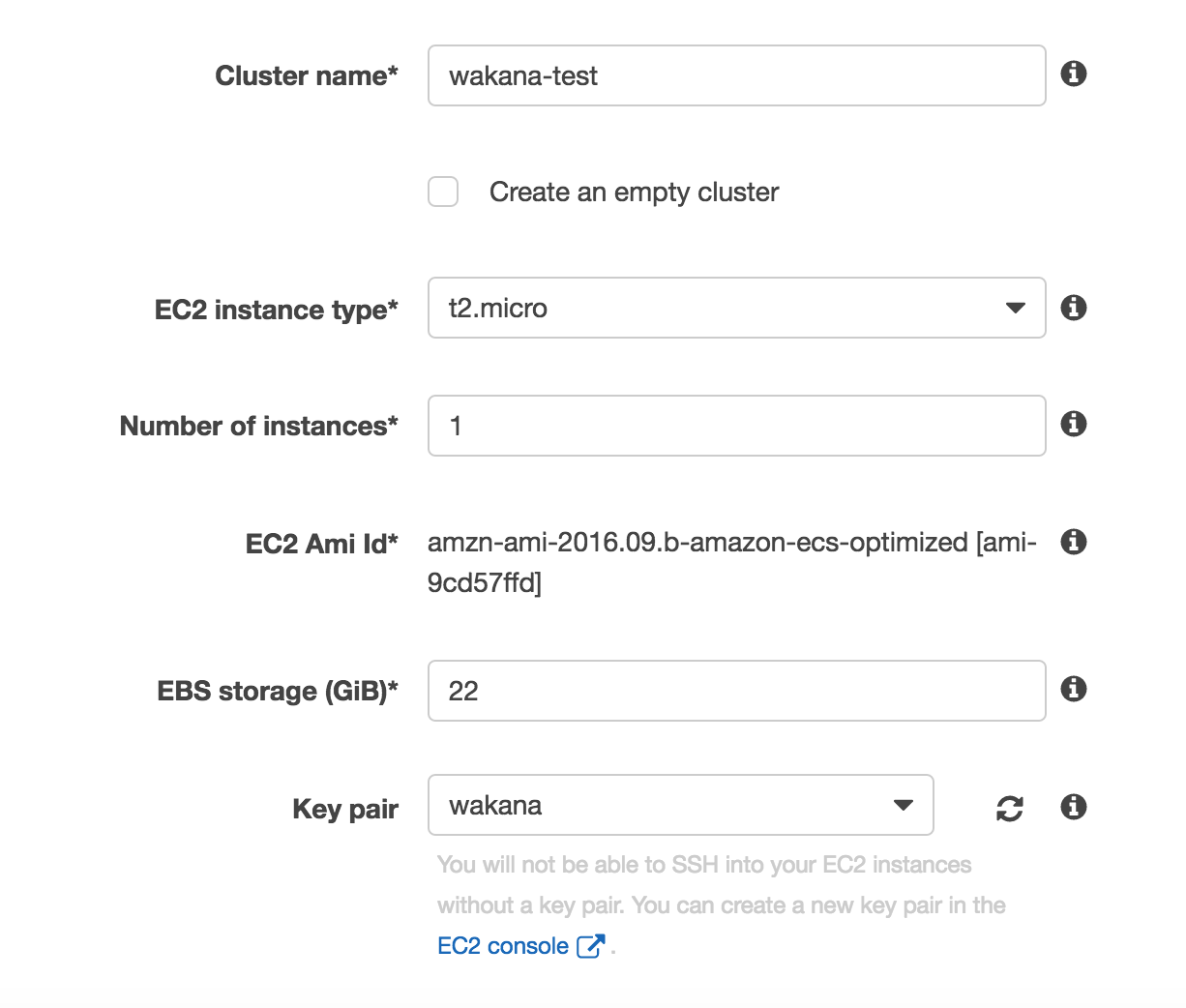 ECSのクラスター設定1
